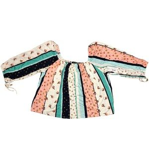 ANA A New Approach Patchwork Stripe Blouse NWT